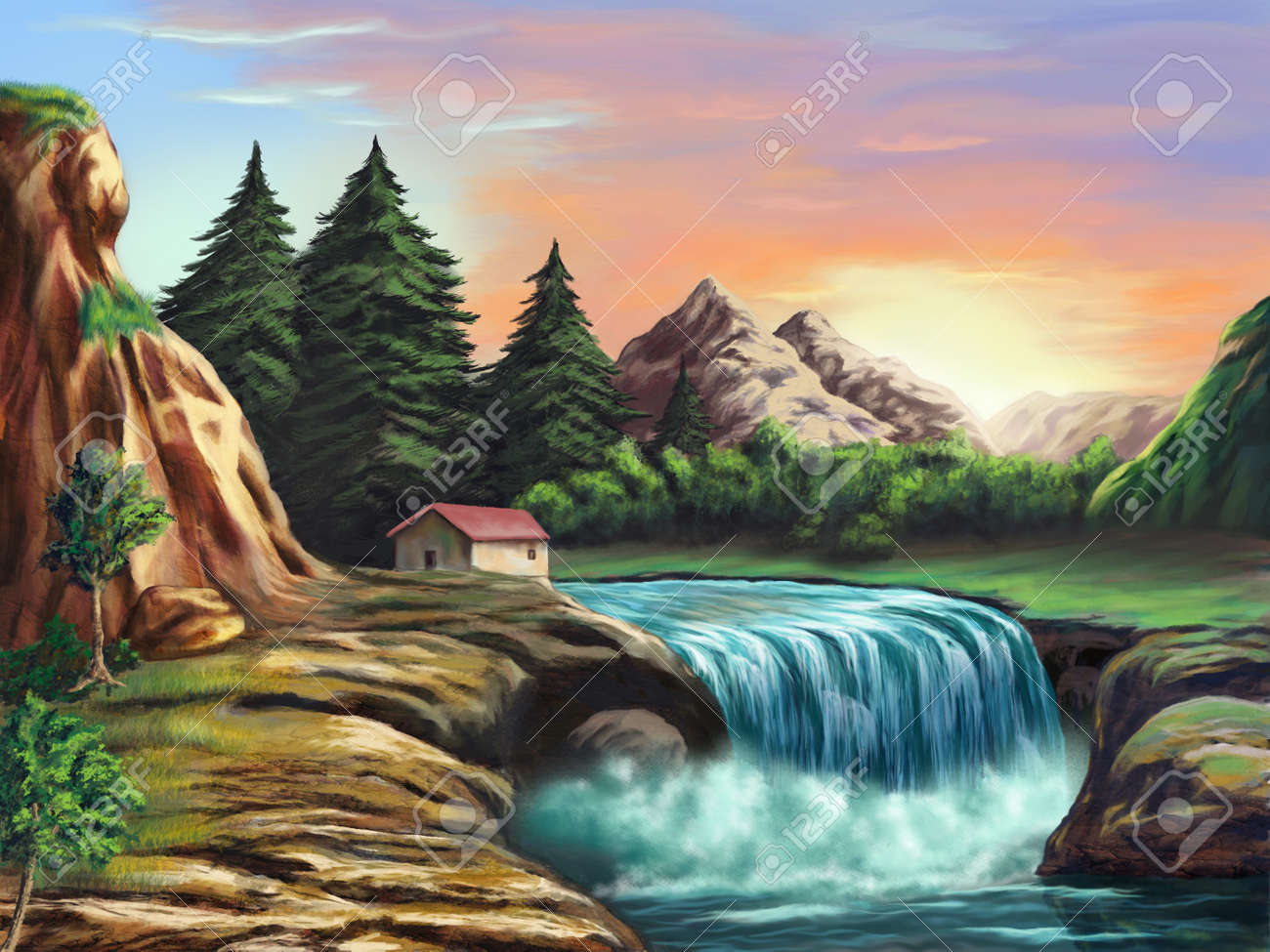 Waterfall in an imaginary landscape at sunset. Original digital illustration. Stock Illustration - 4585960