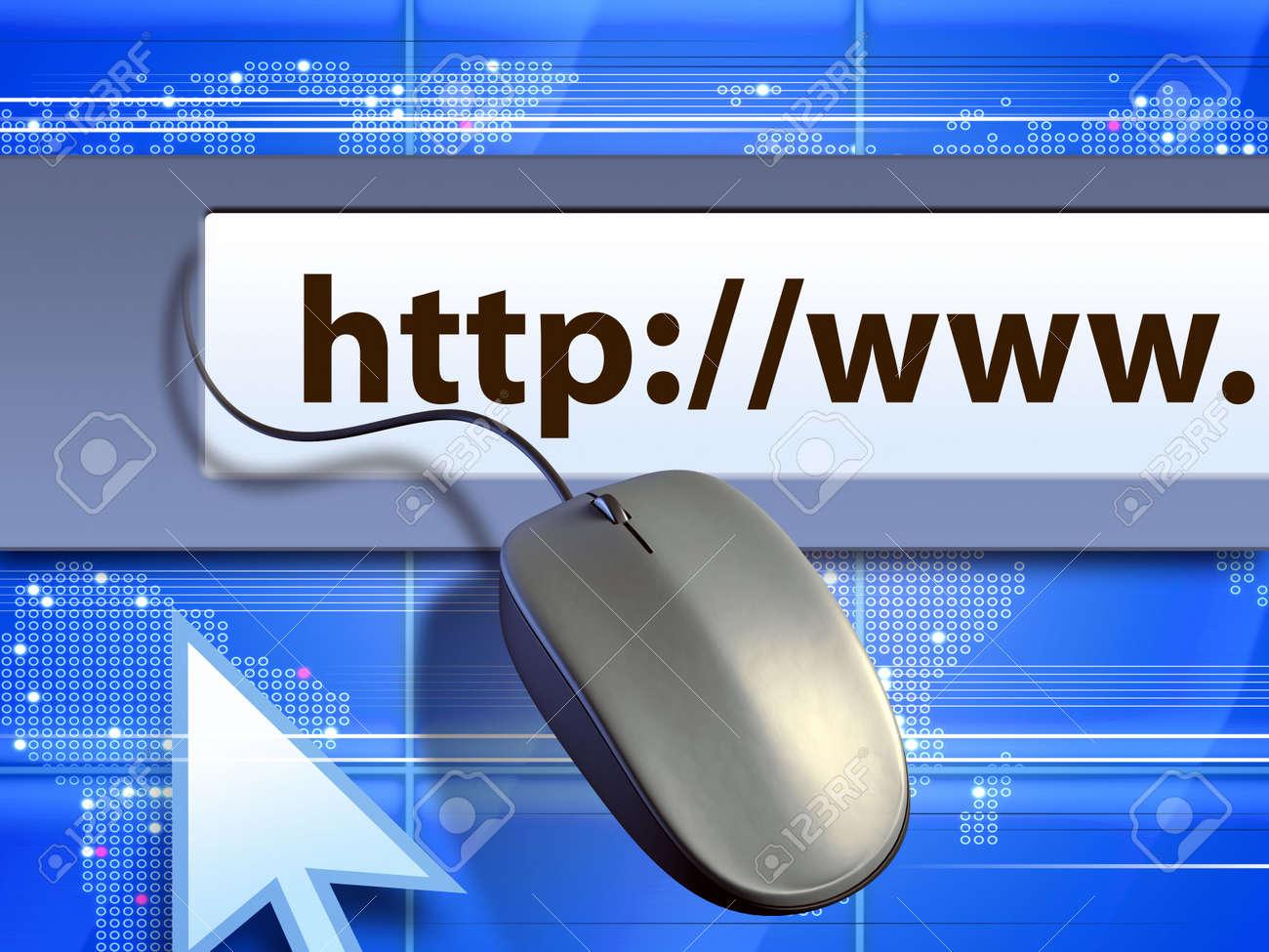 Interface tools used for internet navigation. Digital illustration. Stock Illustration - 4615339