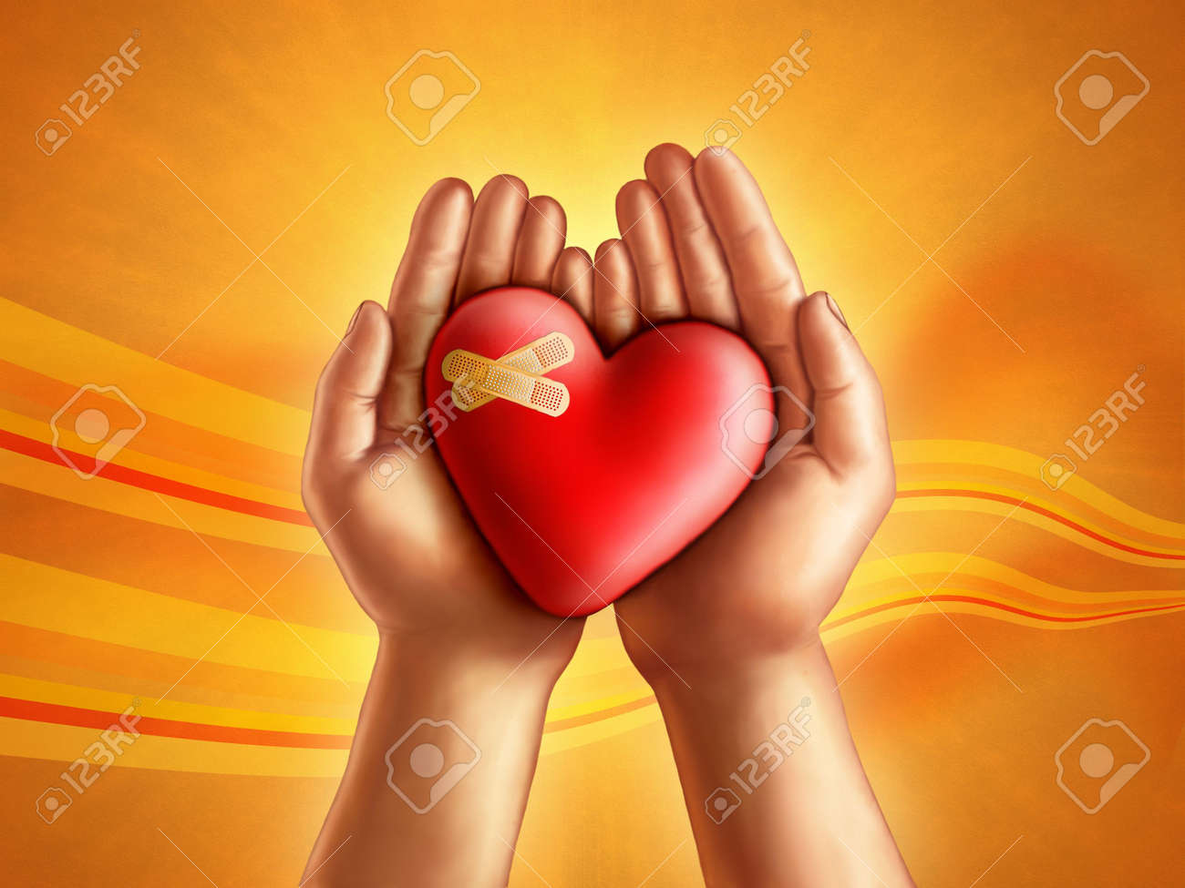 Hands holding a broken hearth, care and compassion concept. Digital illustration. Stock Illustration - 6818783
