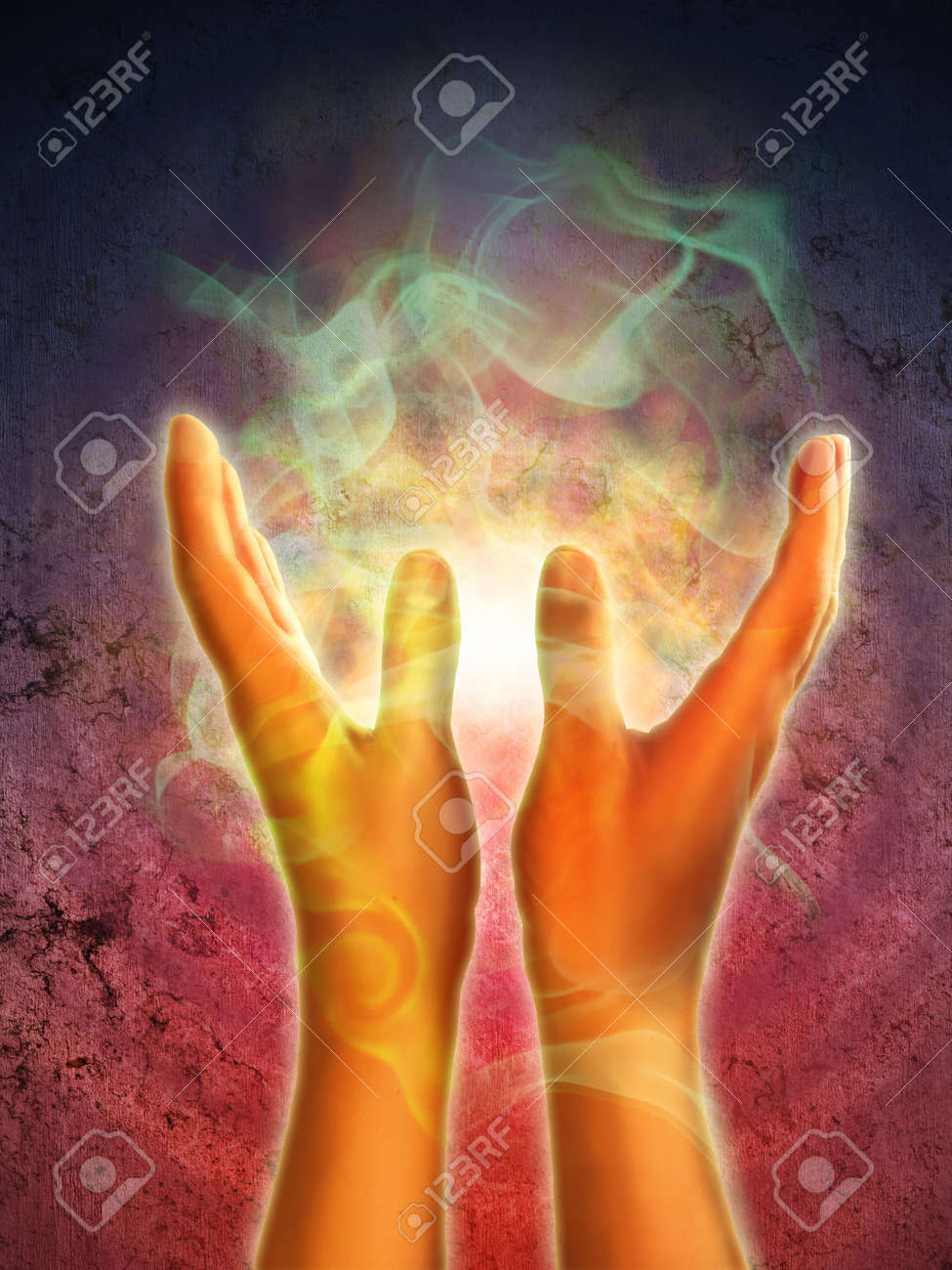 Mystical energy generating from open hands. Digital illustration. Stock Illustration - 6818852