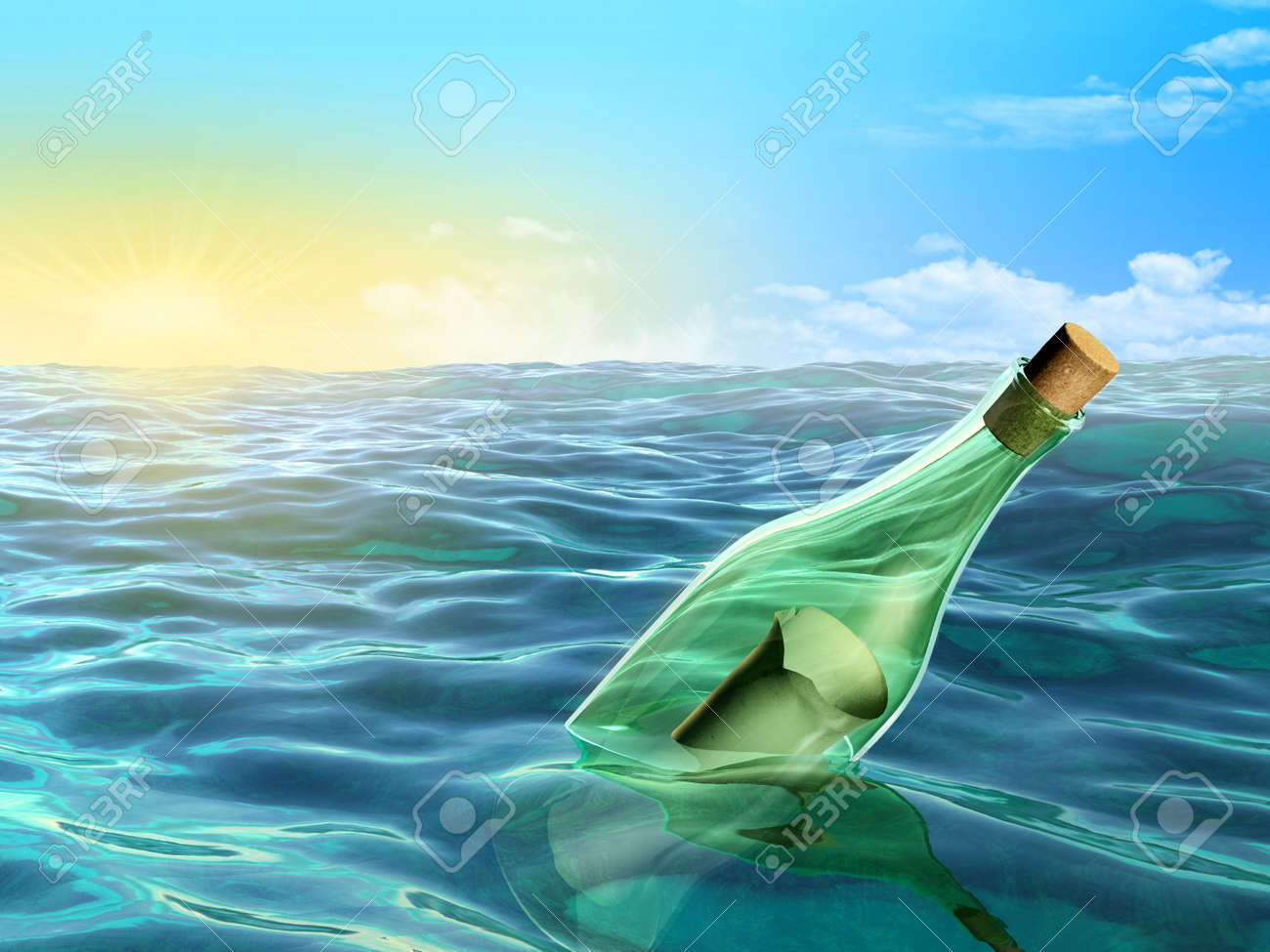 A glass bottle floating in the sea. Digital illustration. Stock Photo - 6818894