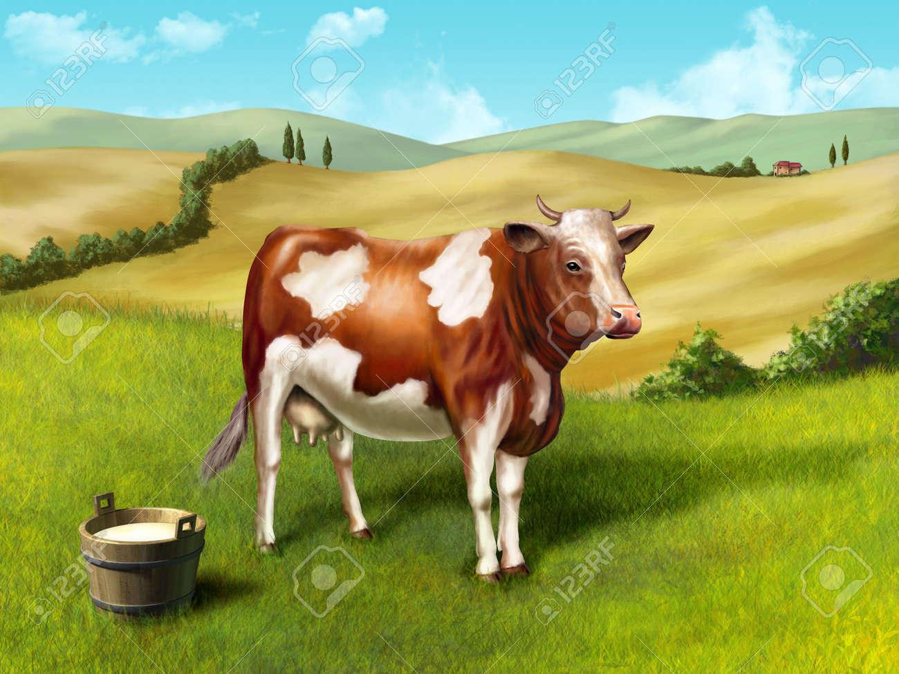 Cow and milk bucket in a rural landscape. Original digital illustration. Stock Photo - 6818899
