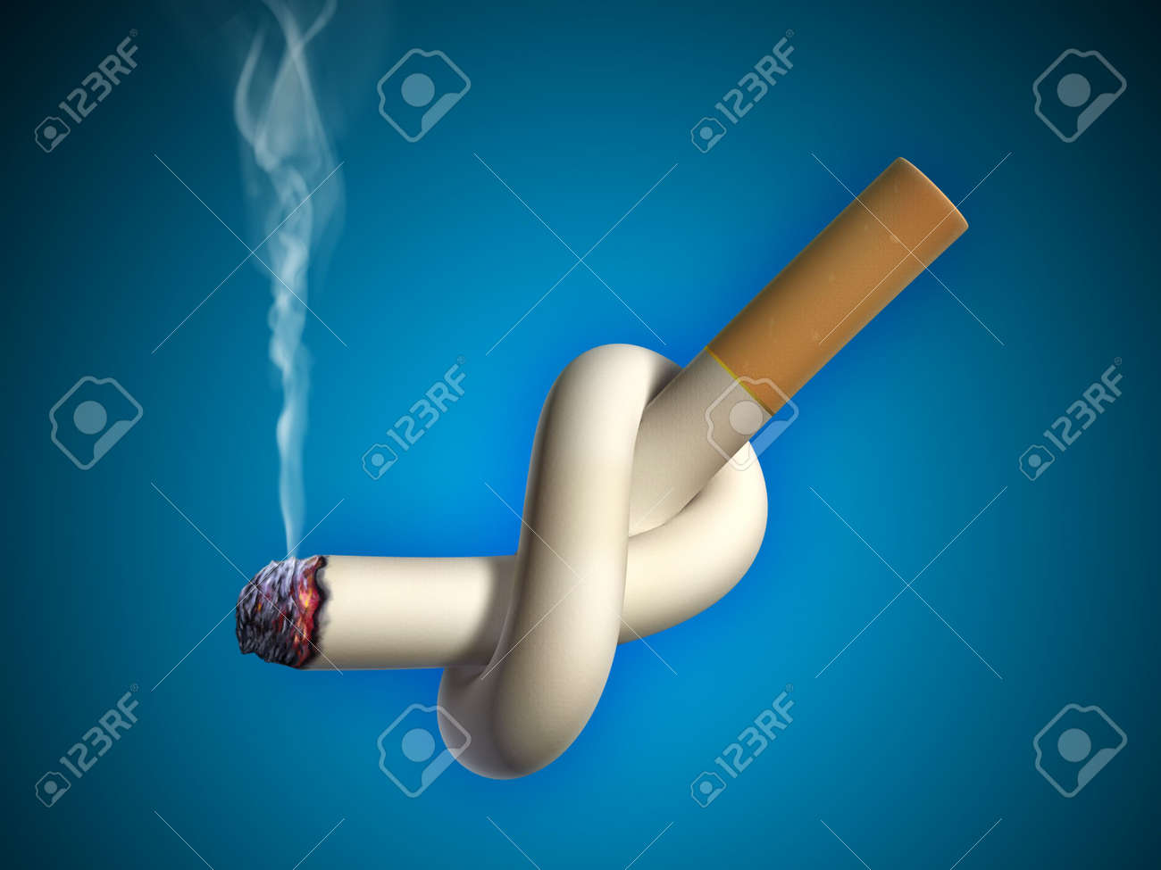 Cigarette tied in a knot. Digital illustration. Stock Photo - 6894044