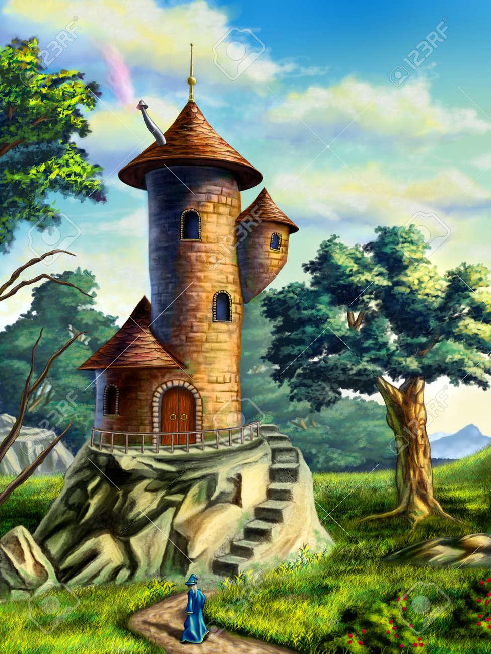 メイジ タワーのある風景をファンタジーします デジタル イラストです の写真素材 画像素材 Image