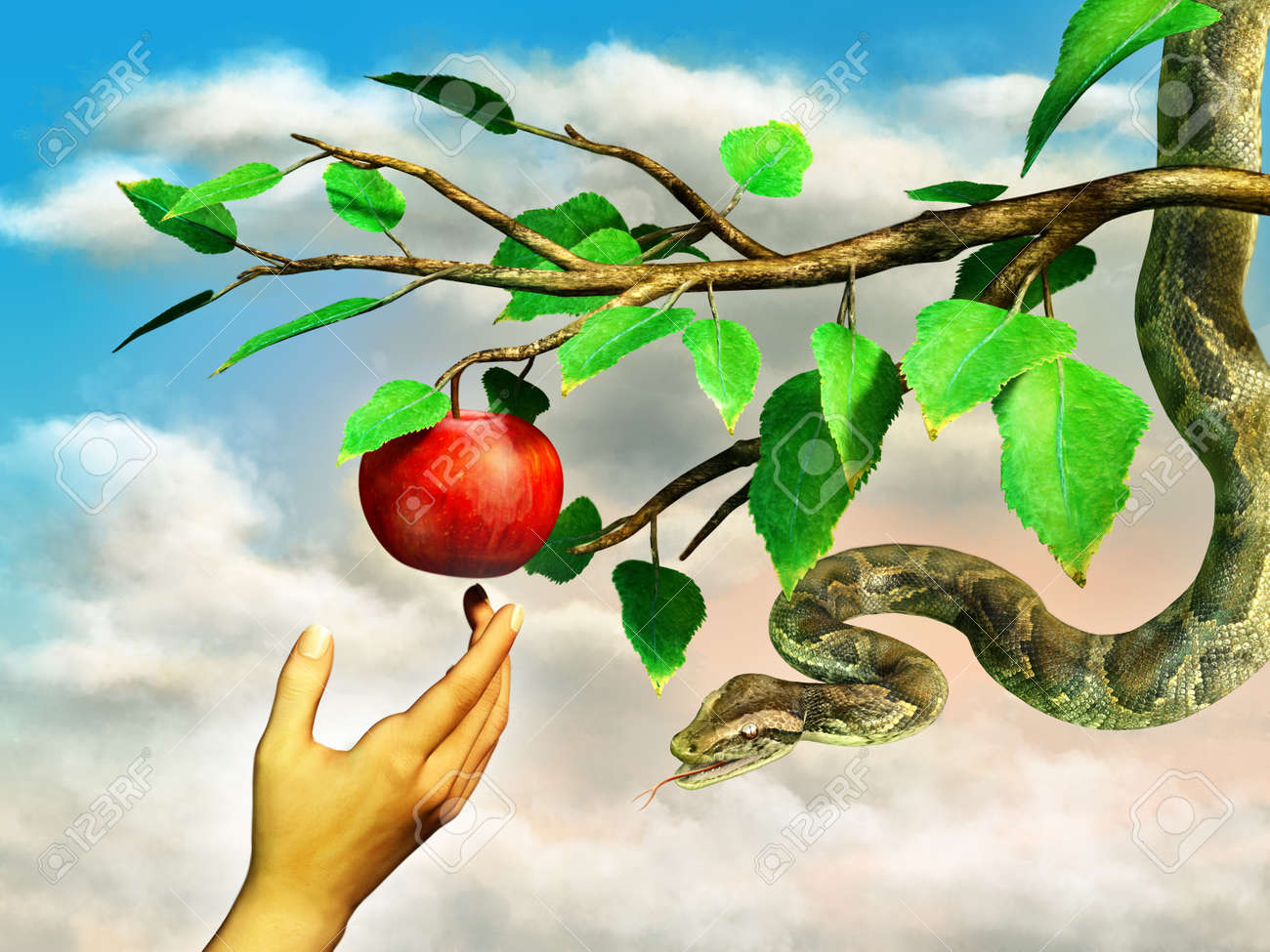 Eva's hand reaching for the forbidden apple. A snake is hanging from the tree. Digital illustration. - 31970429