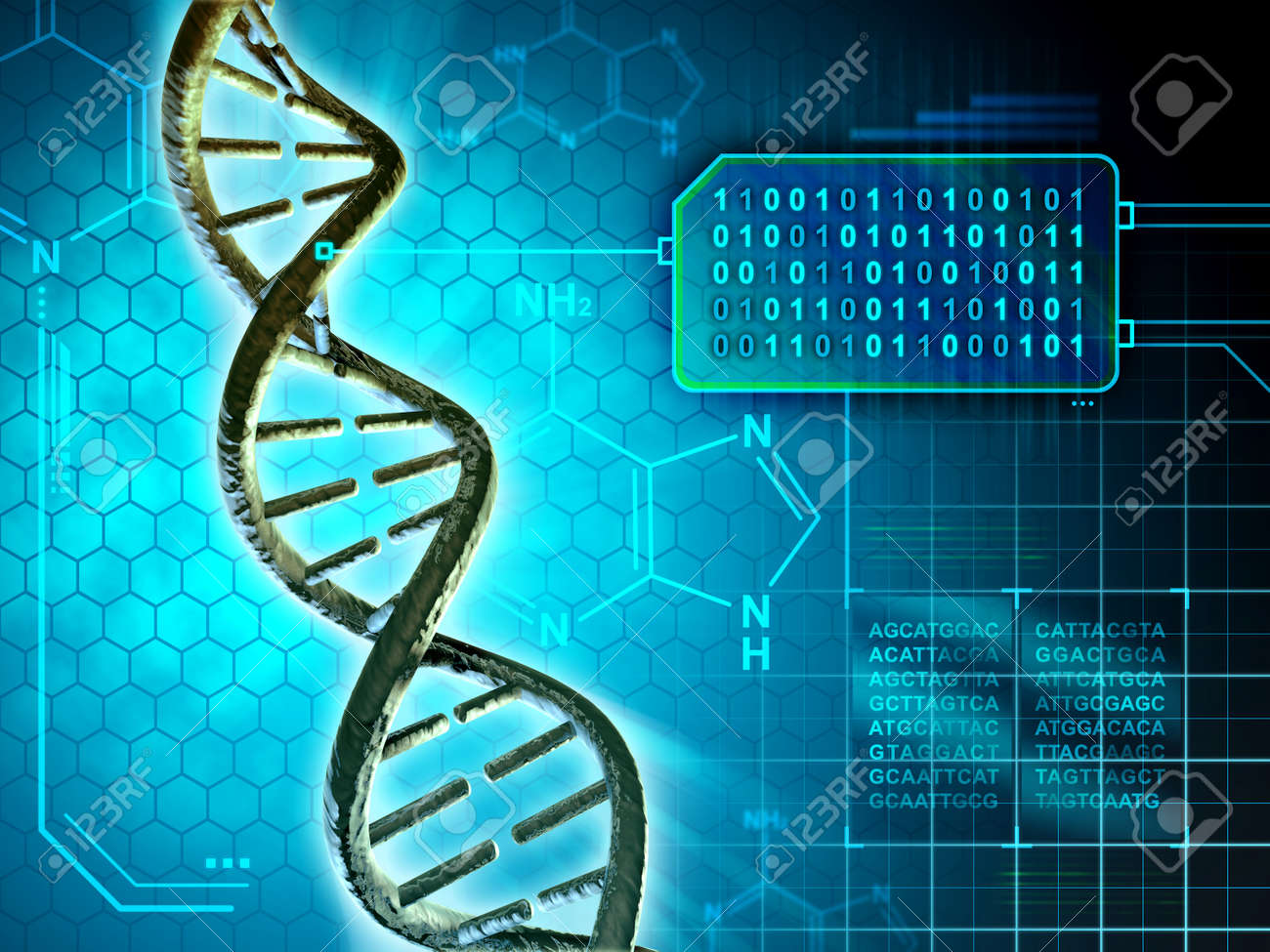 Dna structure converted into binary code. Digital illustration. - 50824627