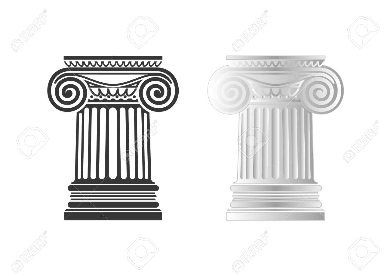 Architecture, ionic column, vector drawing - 147343753