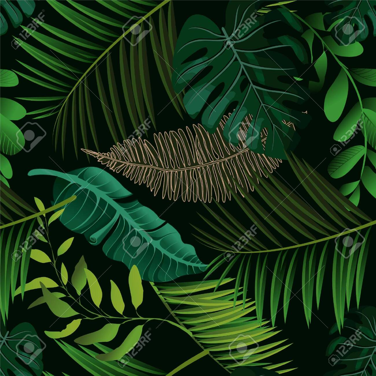 Bright tropical background with jungle plants. Vector exotic pattern with palm leaves. - 147865045
