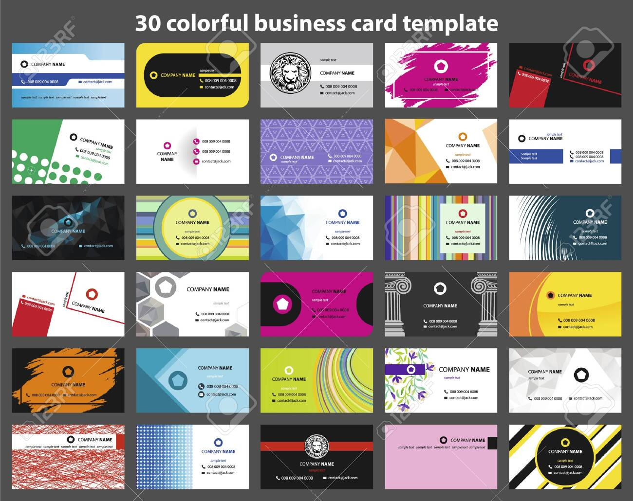 30 colorful business card template - 147975403