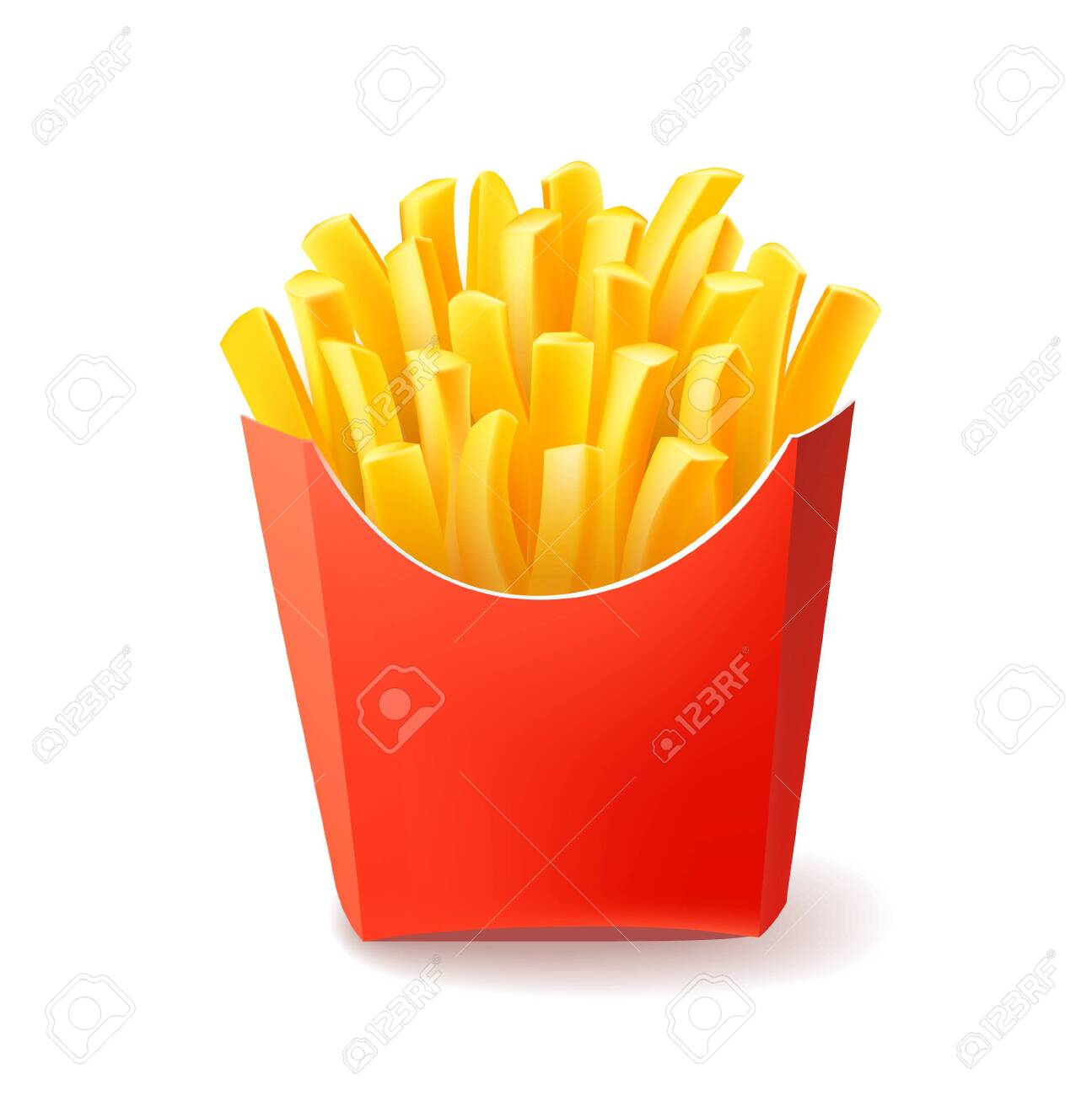 Vector Potatoes French Fries in Red Carton Package Box Isolated on White background. Fast Food - 149422963