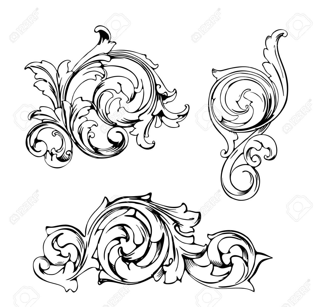 Vintage Baroque Victorian frame border tattoo floral ornament leaf scroll engraved retro flower pattern decorative design tattoo black and white filigree calligraphic vector heraldic swirl set - 149772532