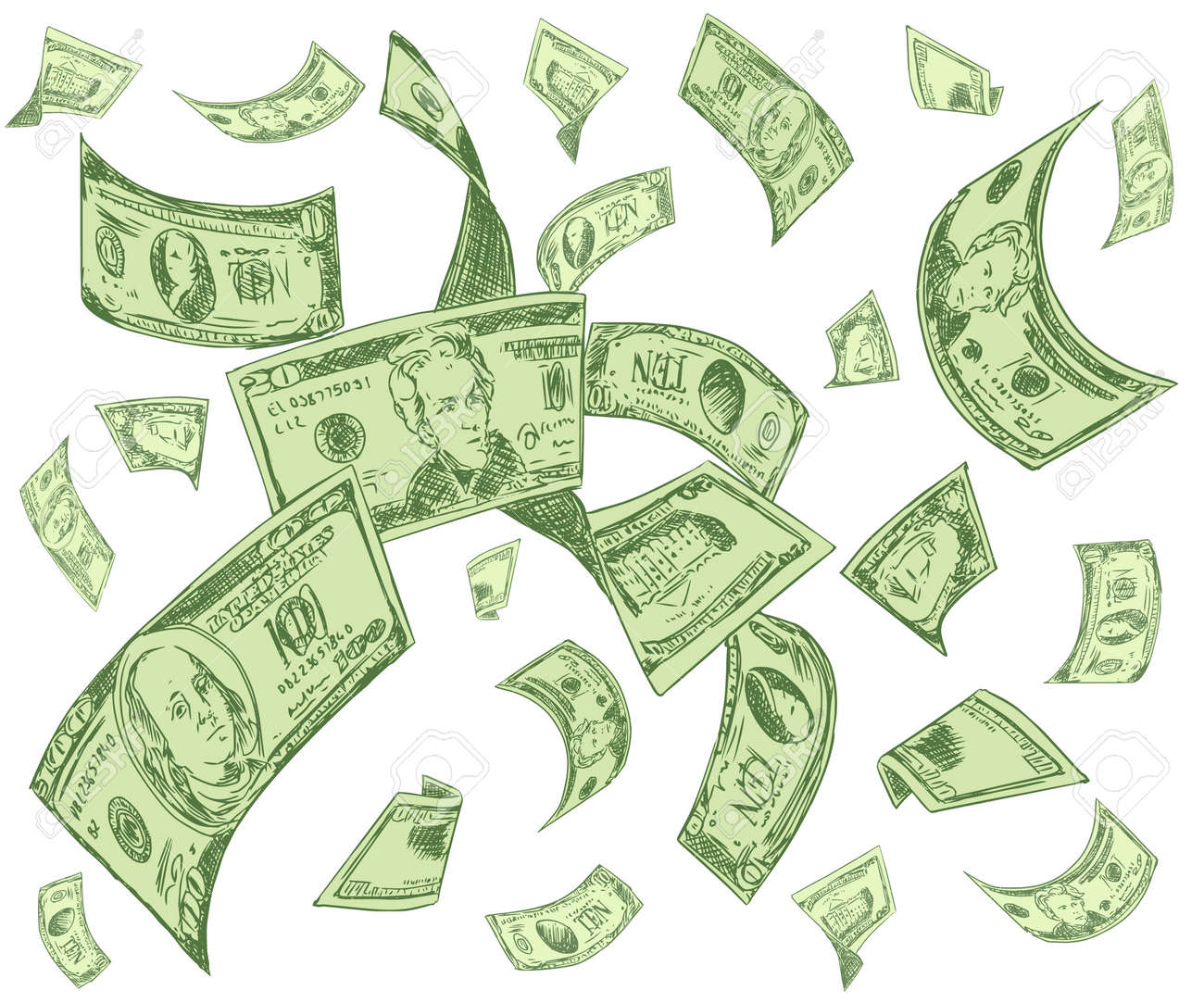 One hundred US dollar bills are falling on white background. Great use for money and finance related concepts. Isolated on white background. Vector illustration - 149796122