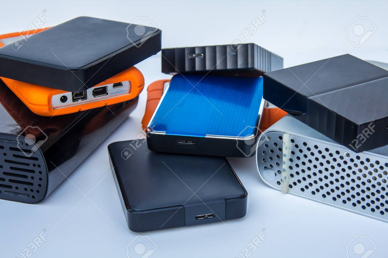 different kinds of external computer storage hard drives - isolated on white background - 108434959