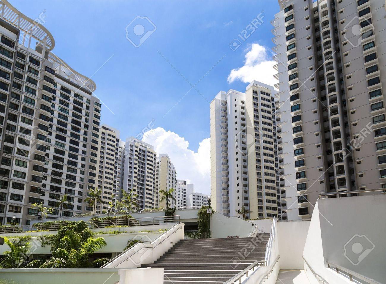 Ein neues Anwesen mit Nachbarschaft facities und Parkplatz in der Mitte-Singapore Standard-Bild - 20738109