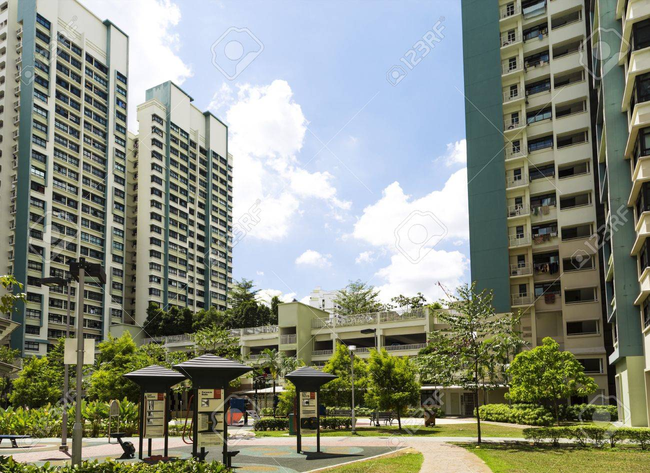 A new apartment neighborhood with carpark and playground  Stock Photo - 20879002