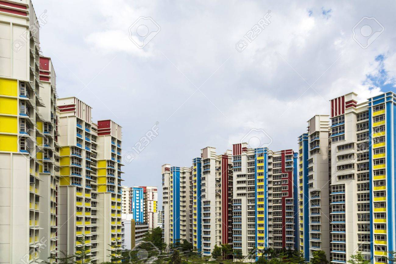 A color residential estate with a park and carpark  Standard-Bild - 20879021