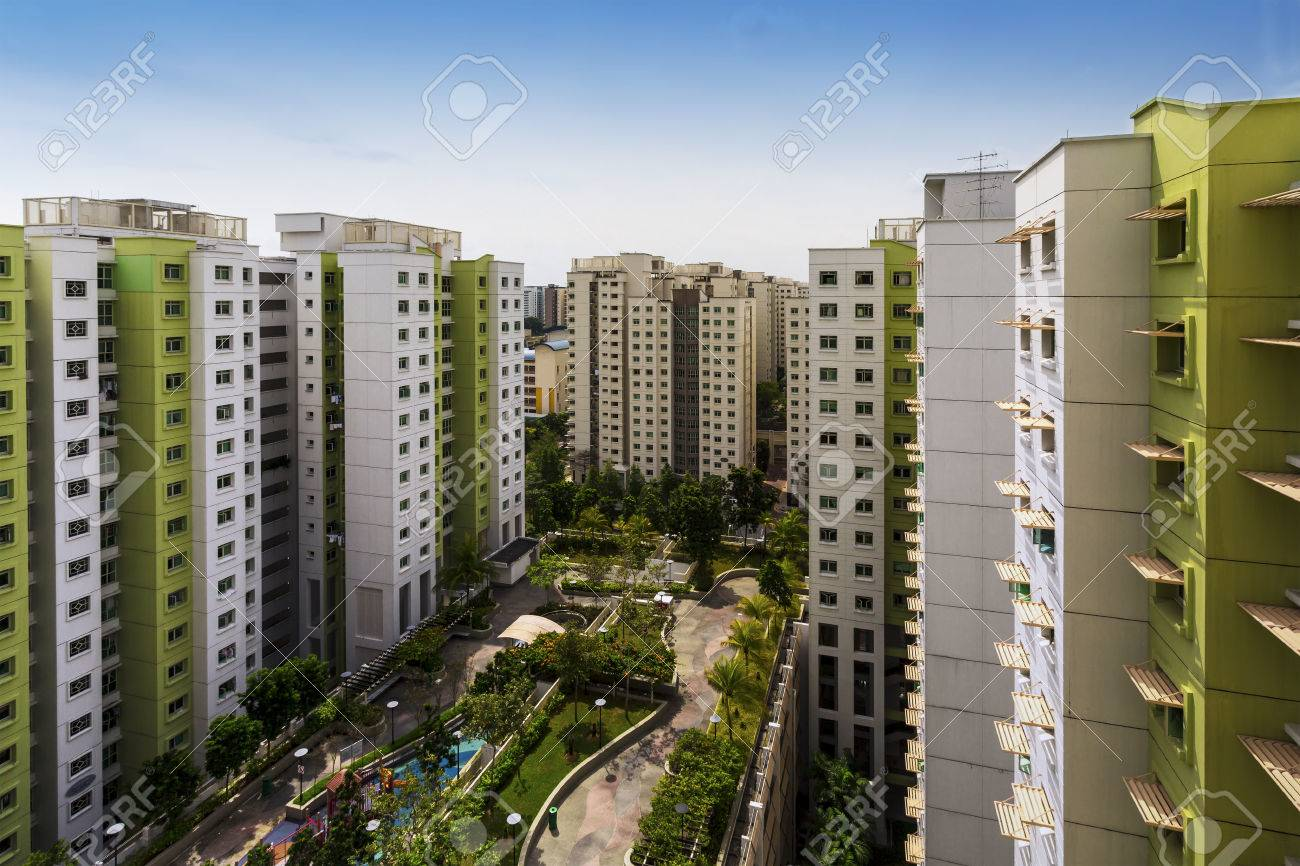 High angle shot of a residential estate with carpark, garden and playground Standard-Bild - 24061736