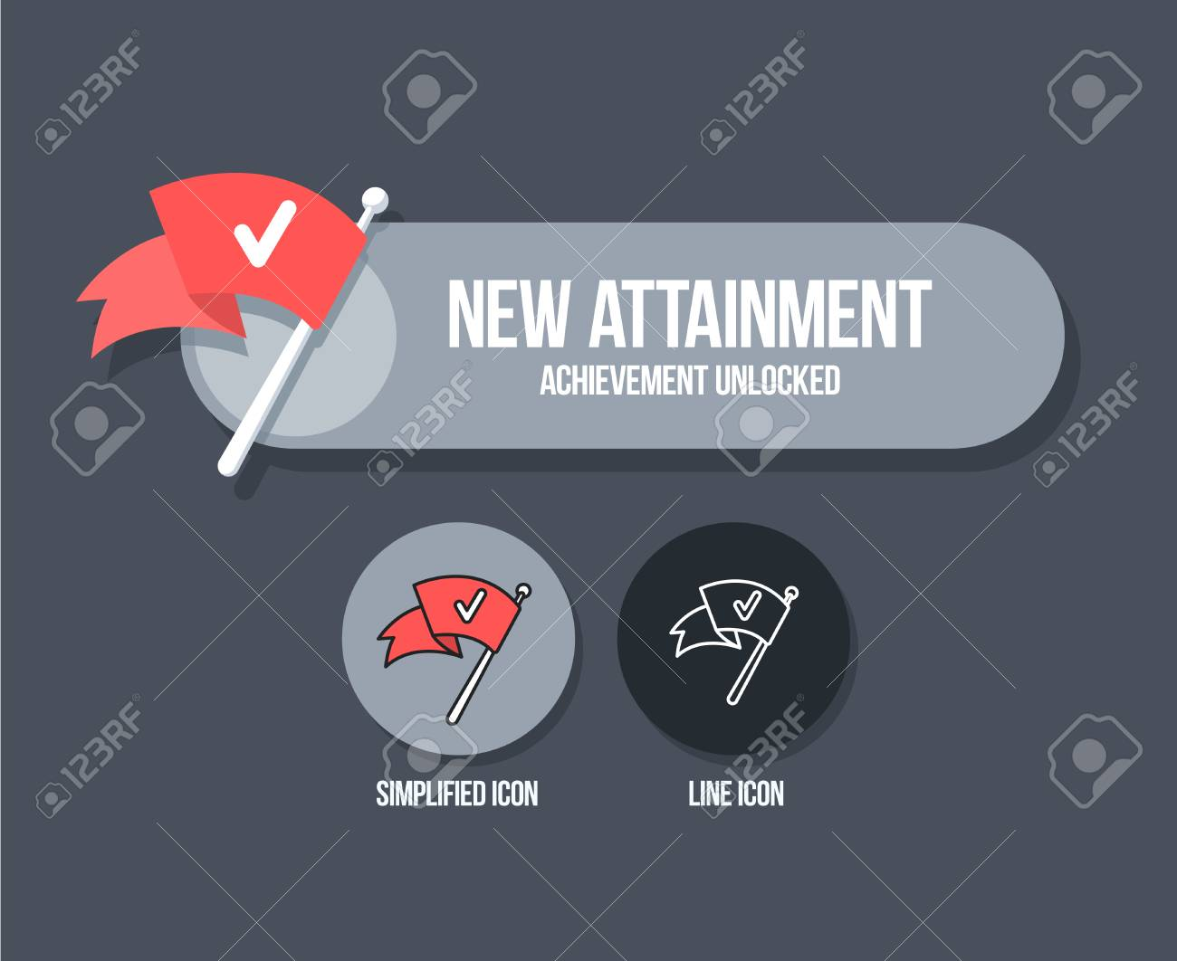Achievement Panel Design Attainment Banner Concept With Stock Vector