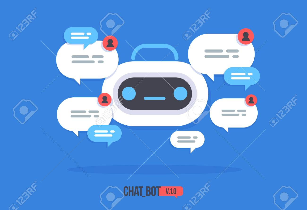 Cute robot icon with speech bubble Support service chat bot Vector modern flat cartoon character Smart Chat helper. - 102890197