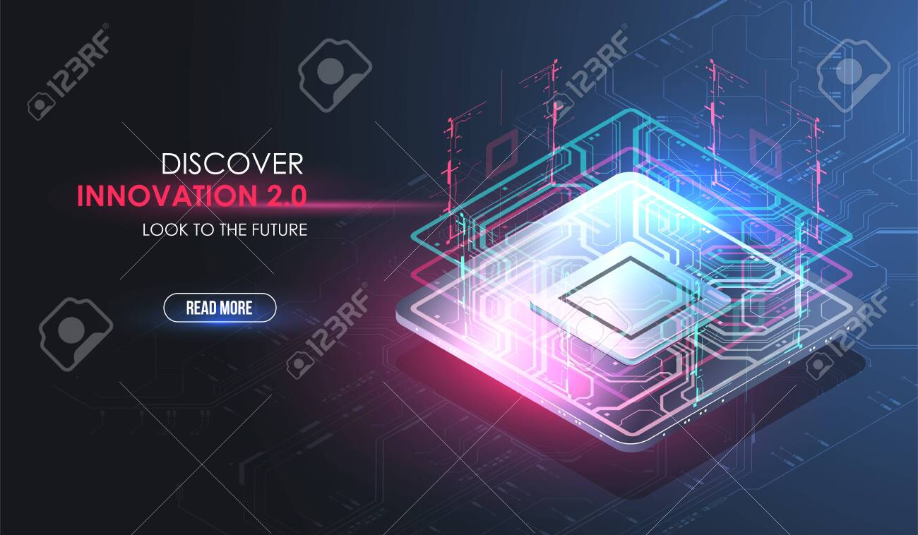 side vector circboard wiring diagram cpu concept with futuristic hud elements digital chip ai  hud elements digital chip ai