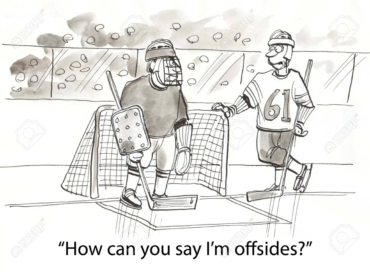 hockey player speaks to goalie Stock Photo - 16860120