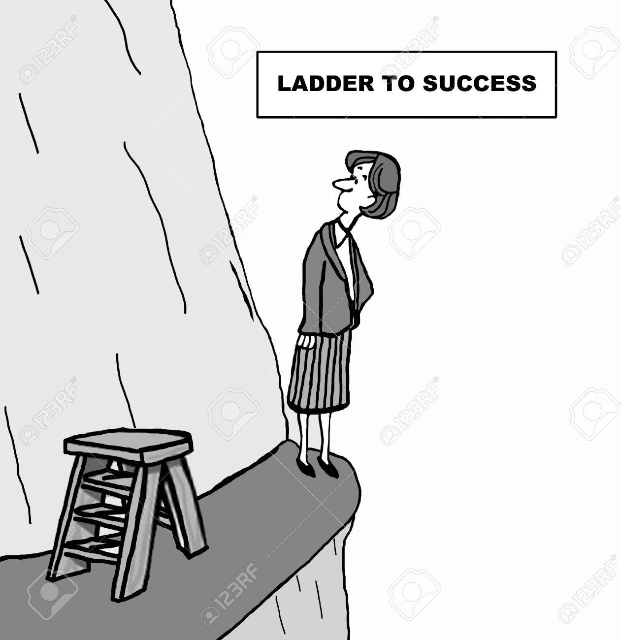 cartoon of businessw looking up the side of a mountain she cartoon of businessw looking up the side of a mountain she is climbing the ladder