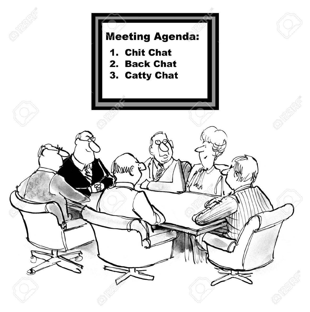 Cartoon Of Team Meeting, The Agenda Is Chit Chat, Back Chat ...