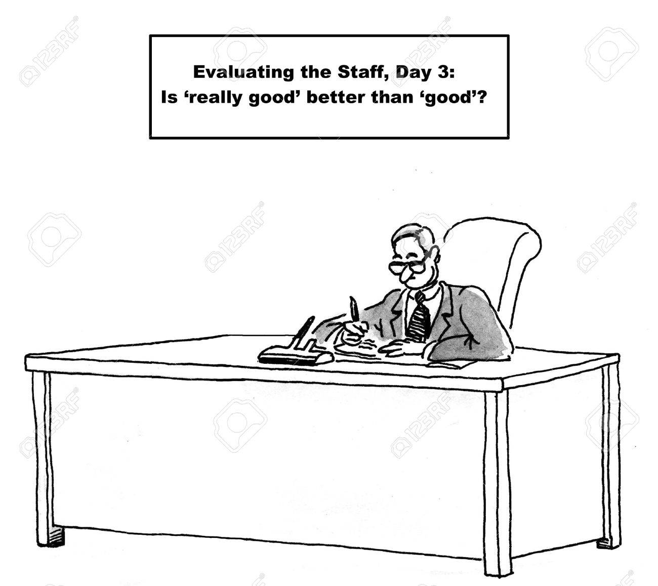 Cartoon Of Business Boss Wondering If really Good Evaluation – Staff Evaluation