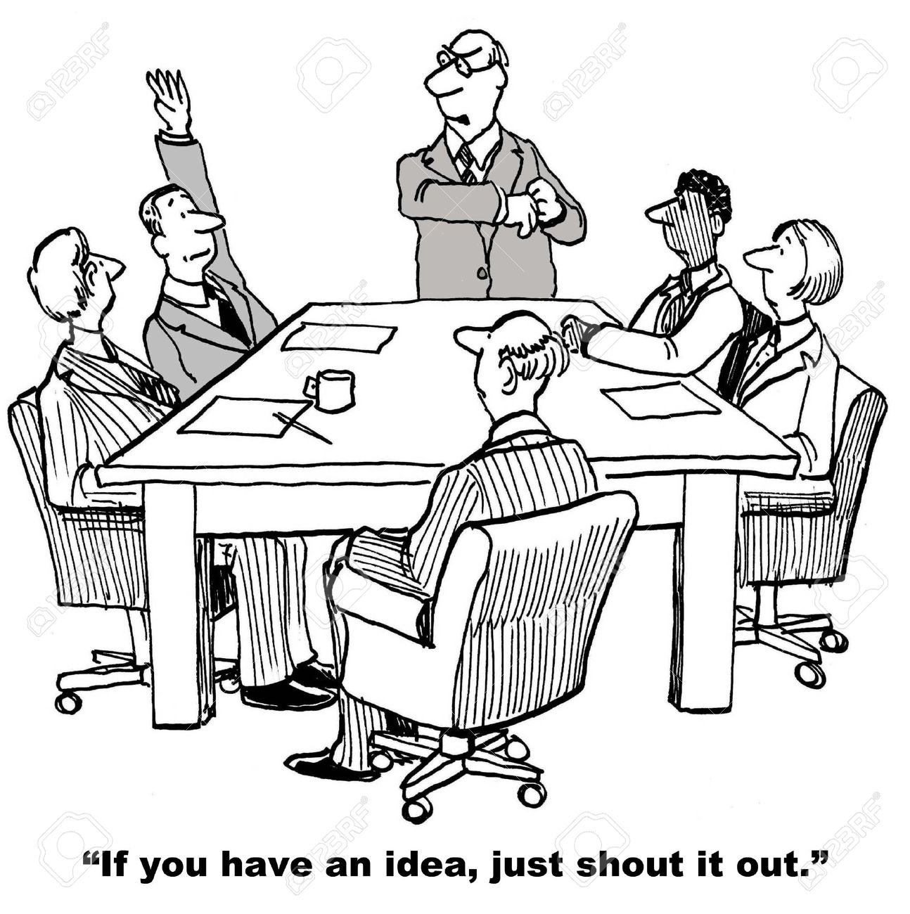 cartoon of businessman raising hand in meeting rather than just