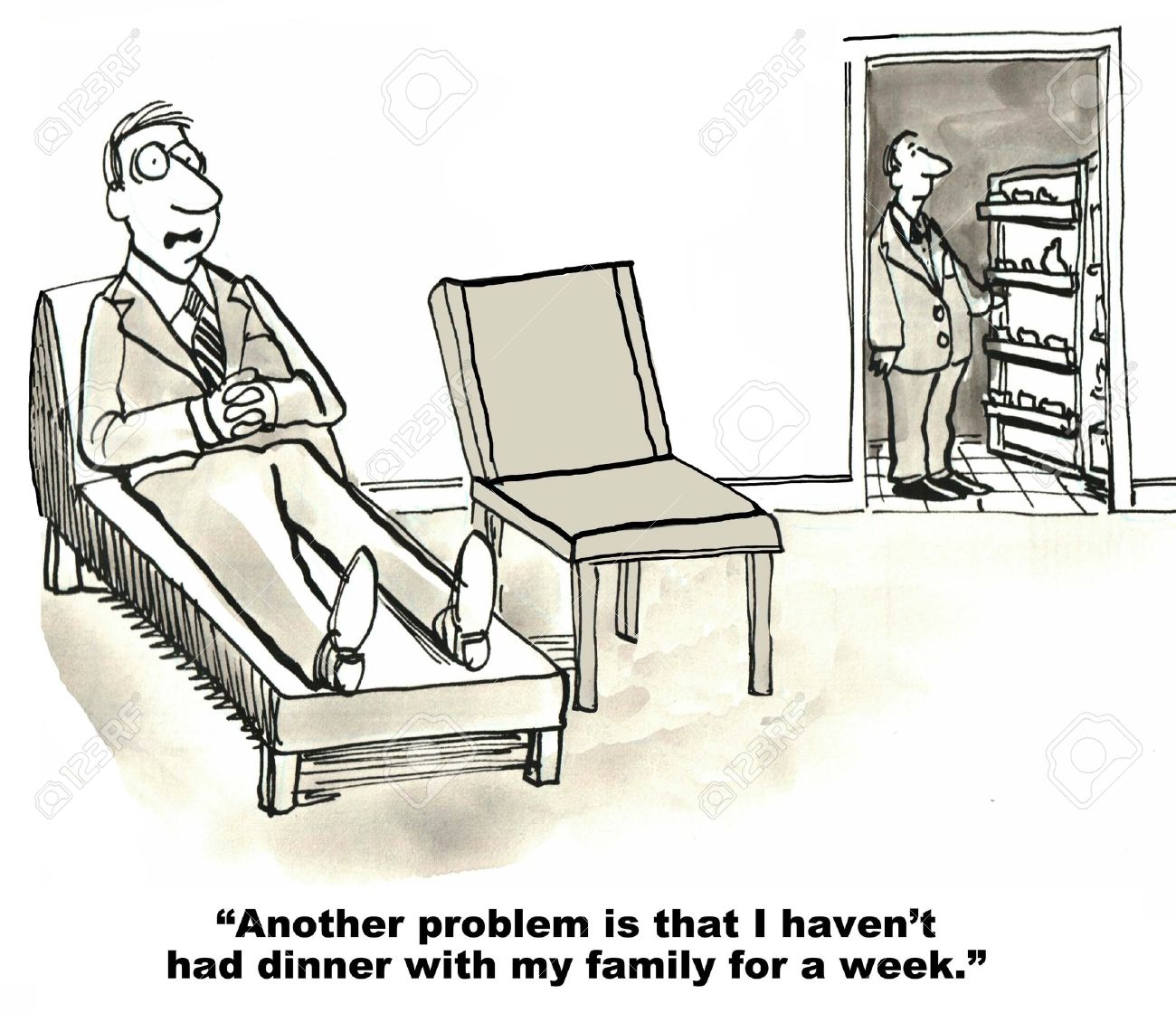 Cartoon Of Businessman In Therapy Session As Therapist Looks