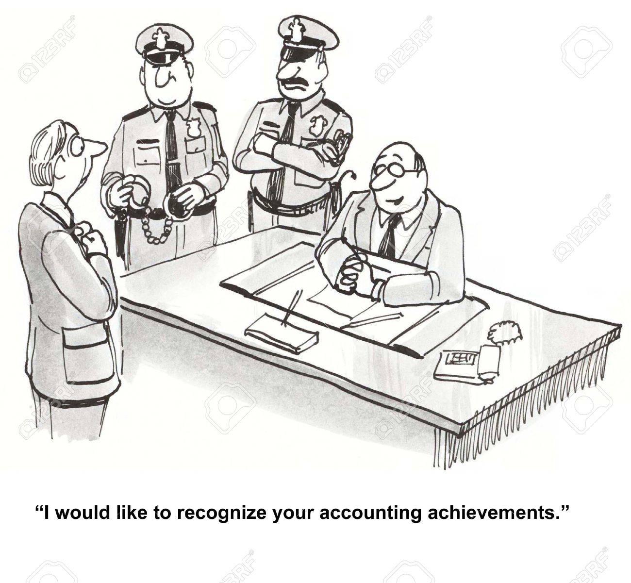 Caricatura de jefe de negocios con la policía, le dice contador que le gustaría reconocer sus logros contables.