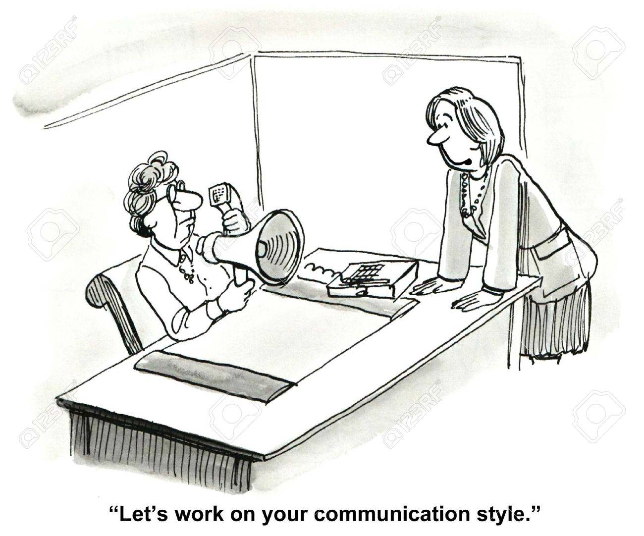 Cartoon of brash communicator, business coworker says, let us talk about your communication style. - 36809010