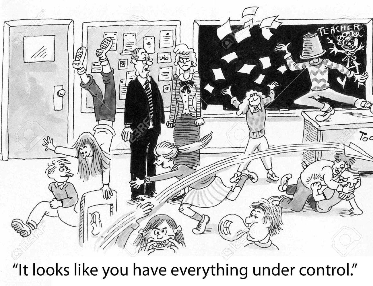 Cartoon of complete chaos in teachers classroom, principal says everything is under control - 36657617