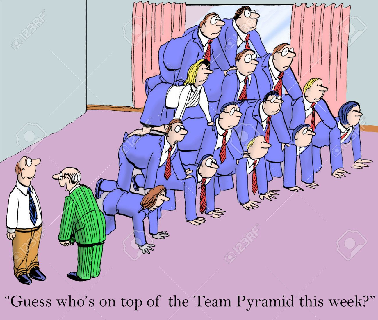 cartoon of business team leader saying to team member he is on cartoon of business team leader saying to team member he is on top of this weeks