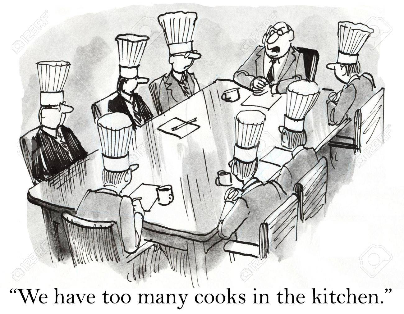 Cartoon Of Business Meeting We May Have Too Many Cooks In The Stock Photo Picture And Royalty Free Image Image 36657594