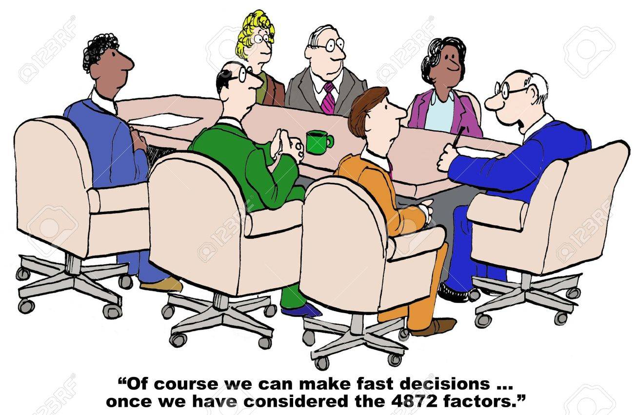 Cartoon of businessman saying he can make fast decisions after he has reviewed all 4000 issues. - 38910084