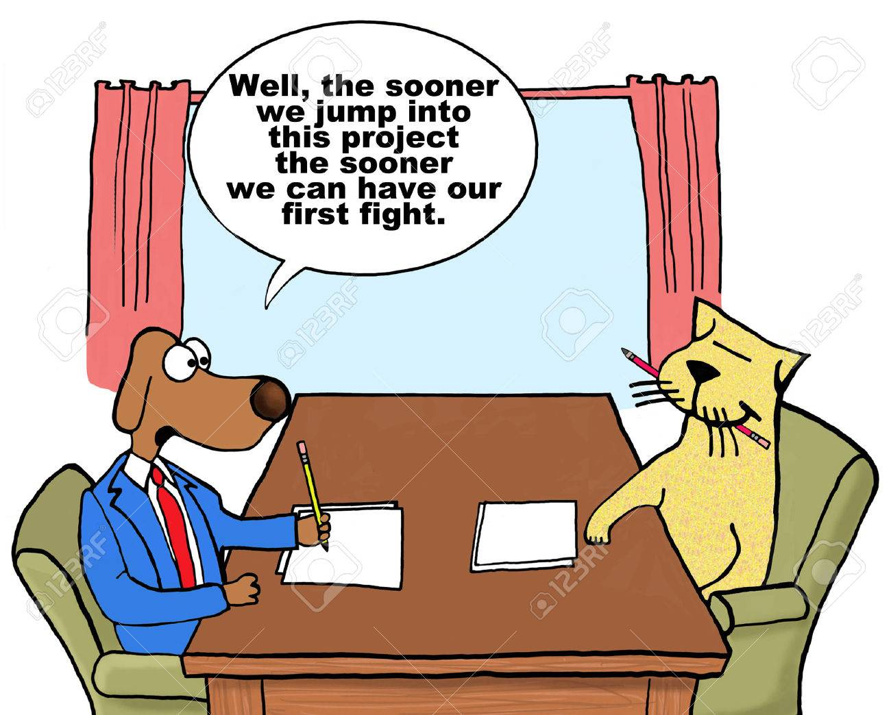 Cartoon on conflict management. - 38909924