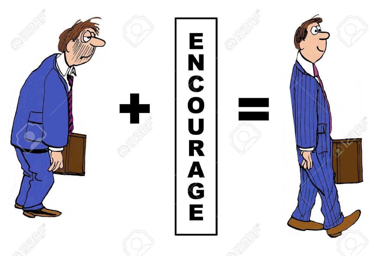 Cartoon showing how encouragement improved the downtrodden businessman. - 38884268