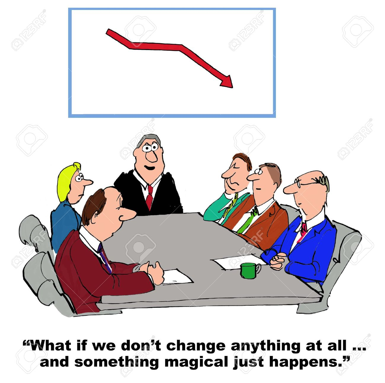Business cartoon where the manager is resisting change management. - 41343601