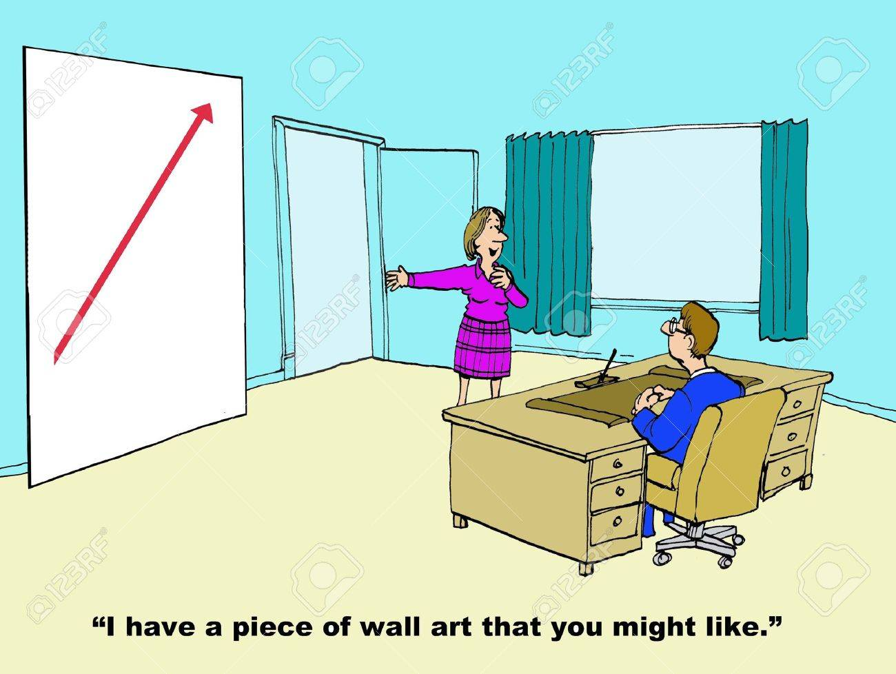 Business Cartoon Of Wall Art Showing Increasing Sales. Stock Photo ...