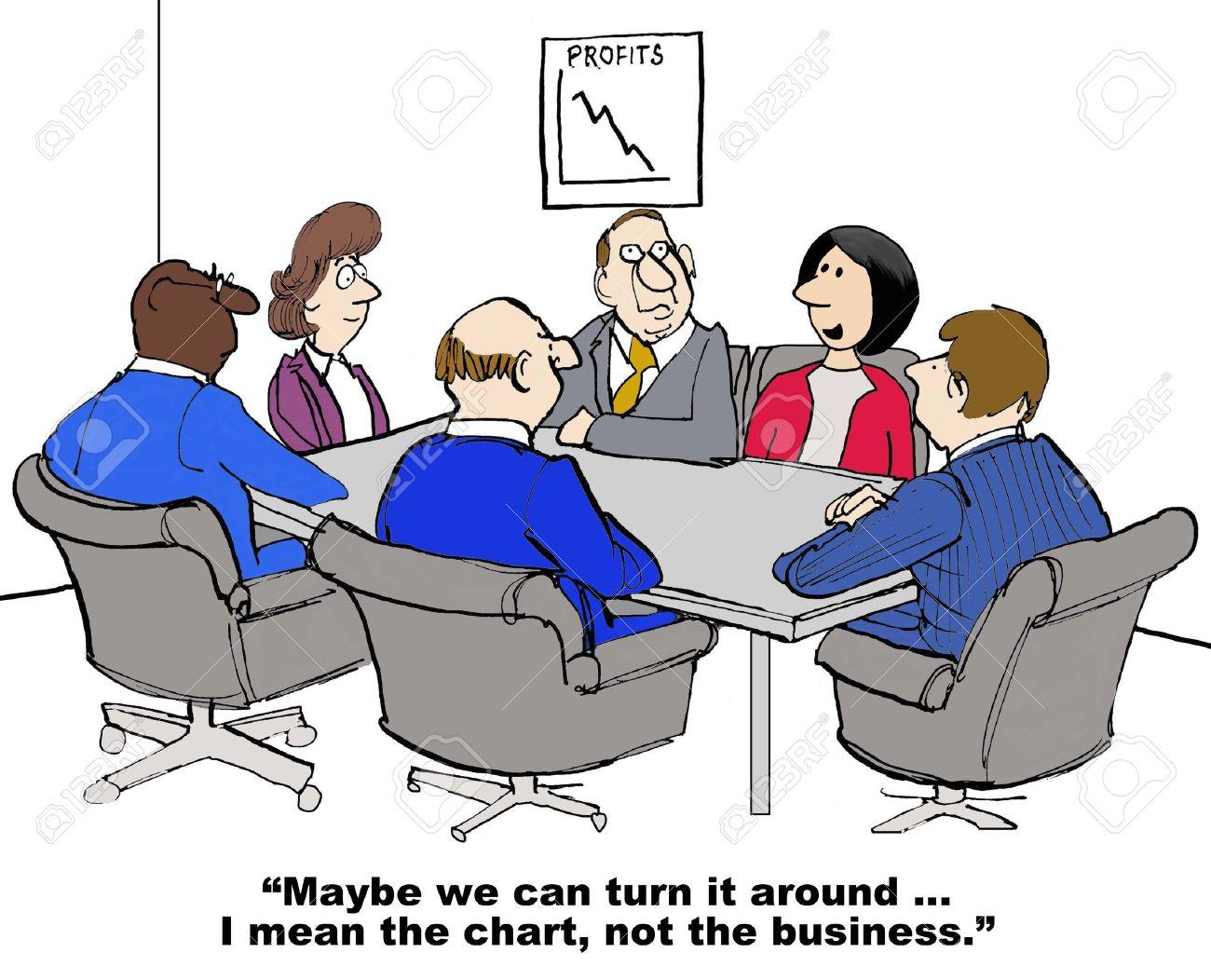 De Dibujos Animados De Negocios Que Muestra Una Reunión Y El Gráfico ...