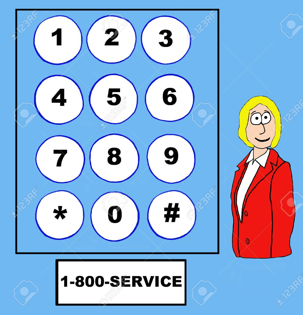 Business Cartoon Of Businesswoman, Telephone Touch Pad And 1-800 ...