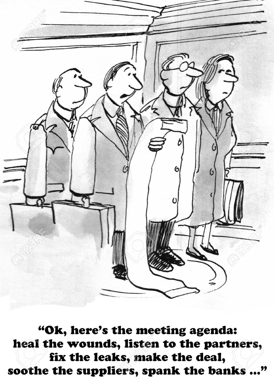 Business Cartoon About A Bad Meeting Agenda. Stock Photo, Picture ...