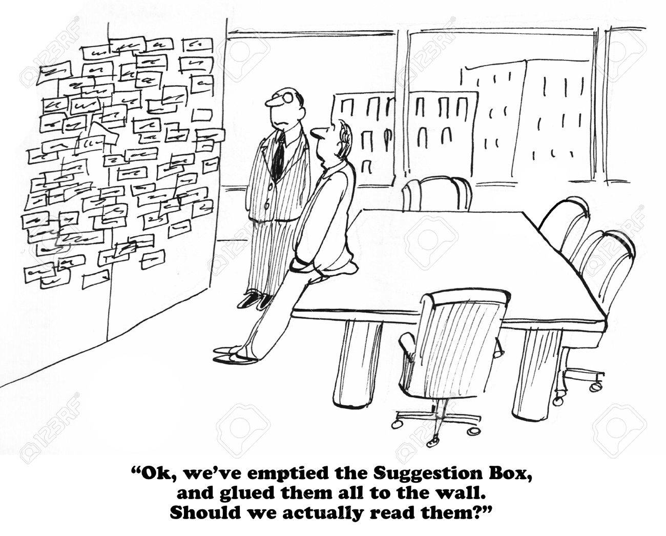 Business cartoon about internalizing the suggestions in the Suggestion Box. - 57742222