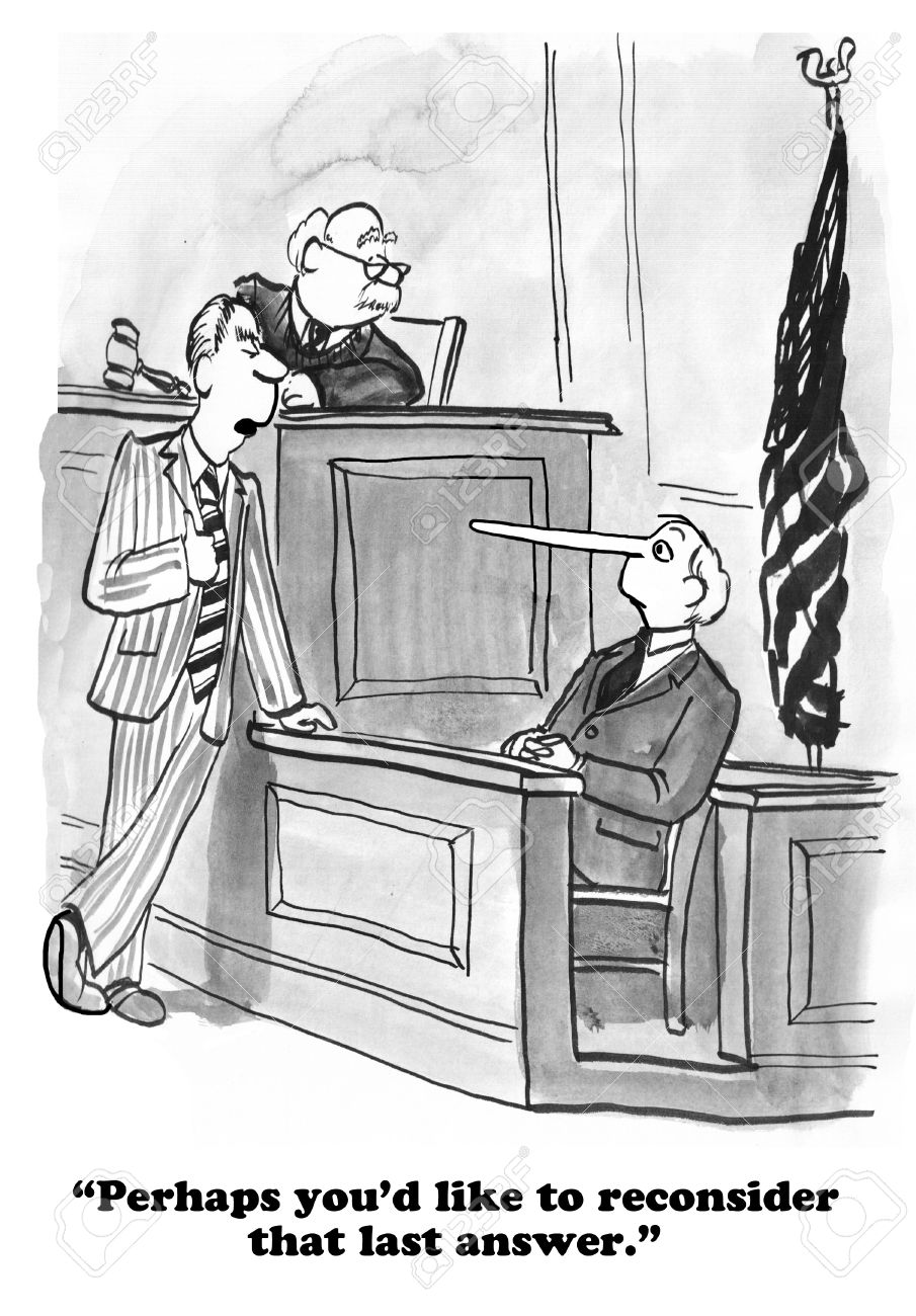 Legal cartoon about lying on the witness stand. - 57742246