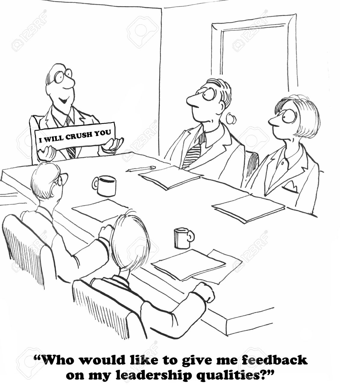 Business cartoon about a leader who does not want feedback. - 57706859