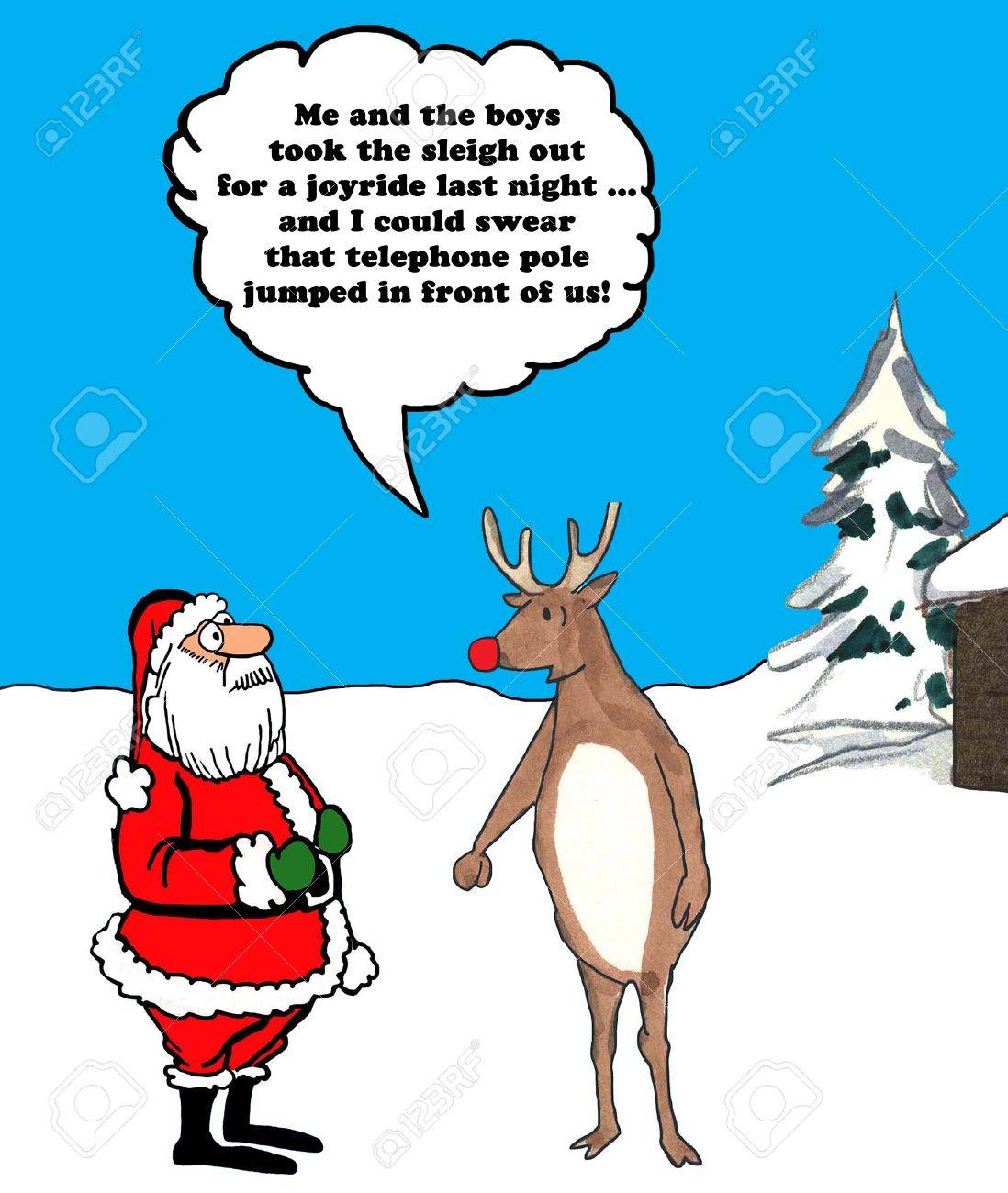 Color Christmas Illustration Of Rudolph Telling Santa Claus He ...