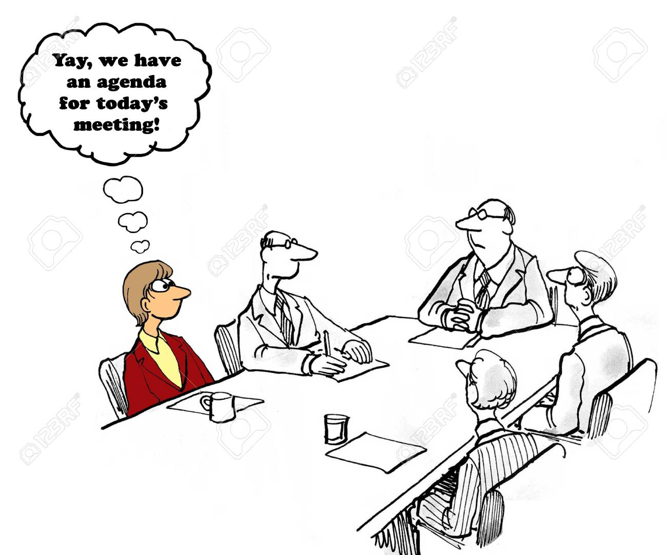 business cartoon about having a meeting agenda stock photo picture