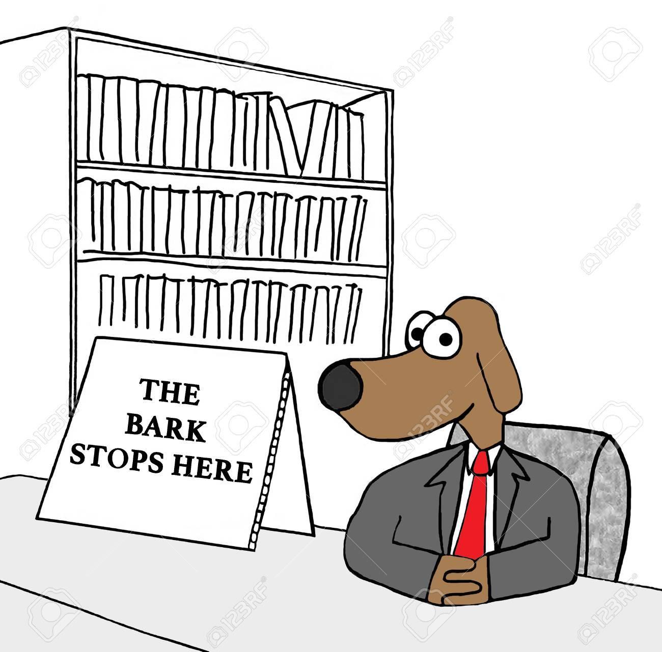 Dibujos Animados De Negocios Que Muestra Un Perro Jefe Y \'la Corteza ...