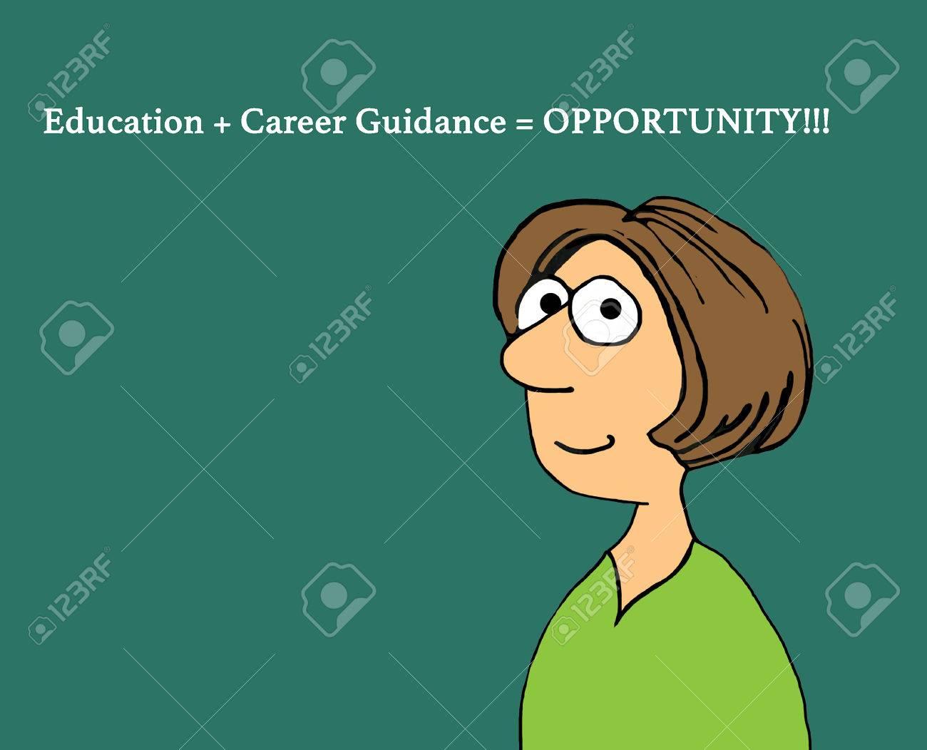 Ilustración De Dibujos Animados De Educación Que Muestra A Una Mujer Y Una Frase Sobre La Oportunidad